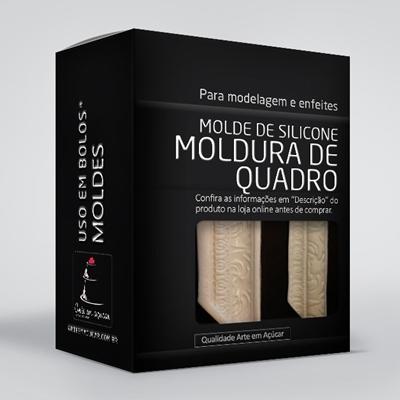 arte em acucar molde silicone moldura de quadro ac12 box single