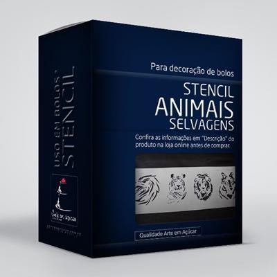 arte em acucar stencil animais selvagens st30 box single