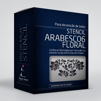 arte em acucar stencil arabesco 6 floral st21 box single
