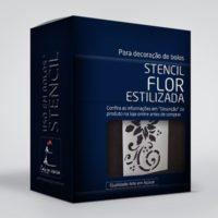 arte em acucar stencil flor estilizada st28 box single